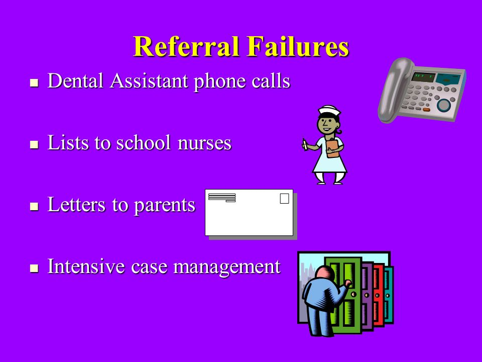 Referral Failures Dental Assistant phone calls Dental Assistant phone calls Lists to school nurses Lists to school nurses Letters to parents Letters to parents Intensive case management Intensive case management