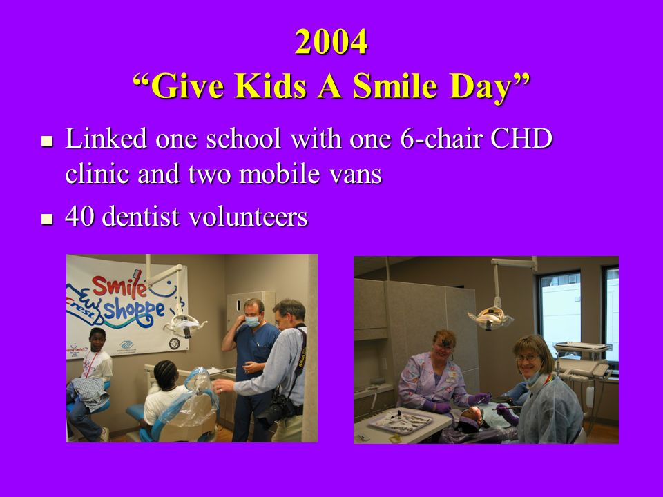 2004 Give Kids A Smile Day Linked one school with one 6-chair CHD clinic and two mobile vans Linked one school with one 6-chair CHD clinic and two mobile vans 40 dentist volunteers 40 dentist volunteers