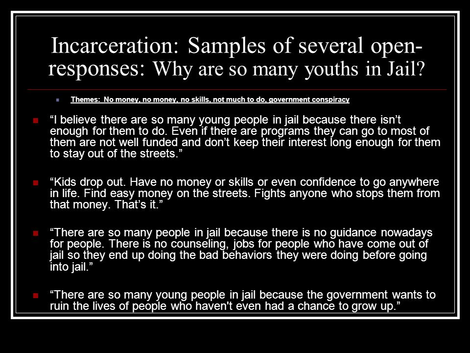 Incarceration: Samples of several open- responses: Why are so many youths in Jail? Themes: No money, no money, no skills, not much to do, government c