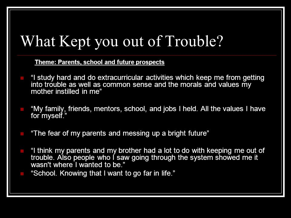 What Kept you out of Trouble? Theme: Parents, school and future prospects I study hard and do extracurricular activities which keep me from getting in