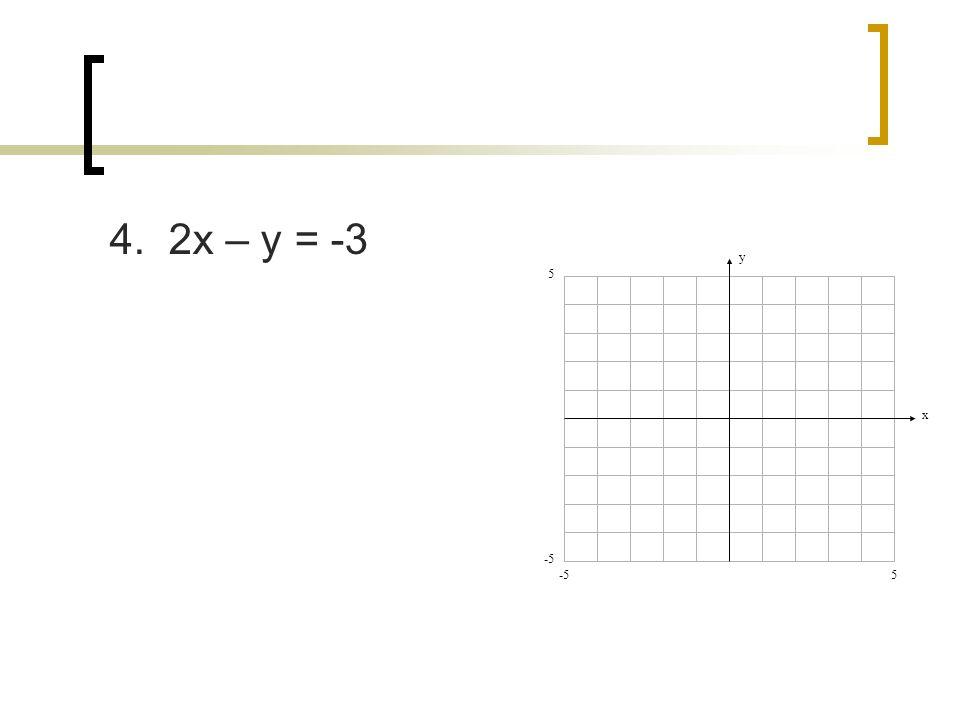 4. 2x – y = -3 y x 5 5 -5