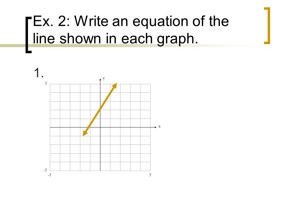 Ex. 2: Write an equation of the line shown in each graph. 1. y x 5 5 -5