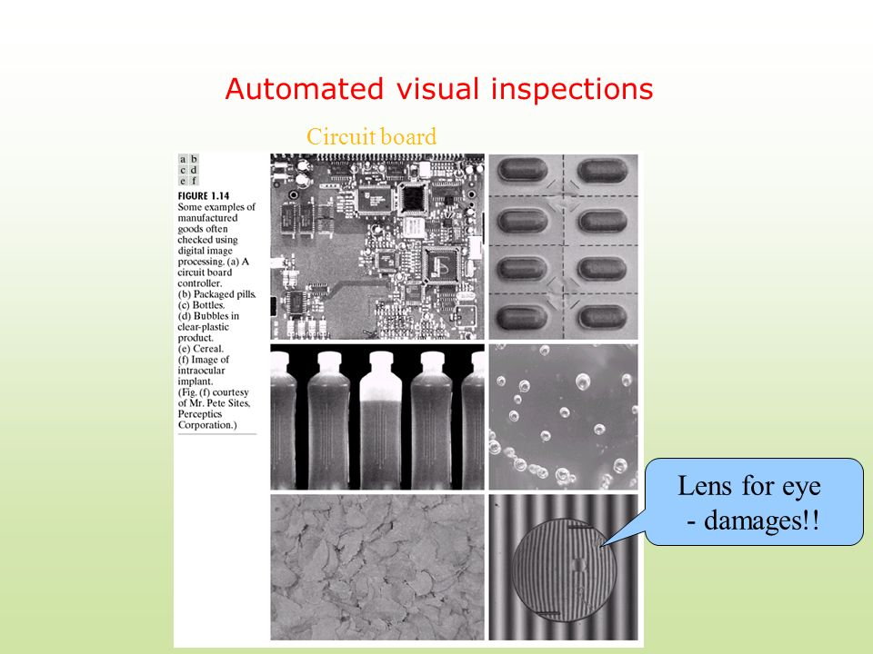 Automated visual inspections Lens for eye - damages!! Circuit board