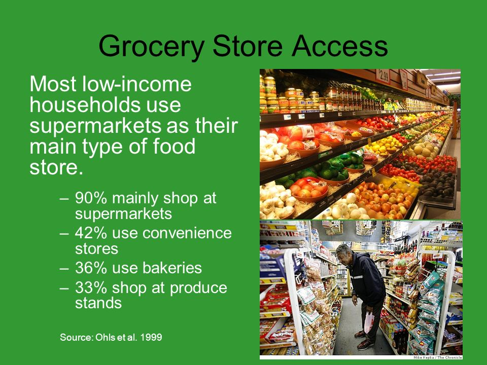 Grocery Store Access Most low-income households use supermarkets as their main type of food store.