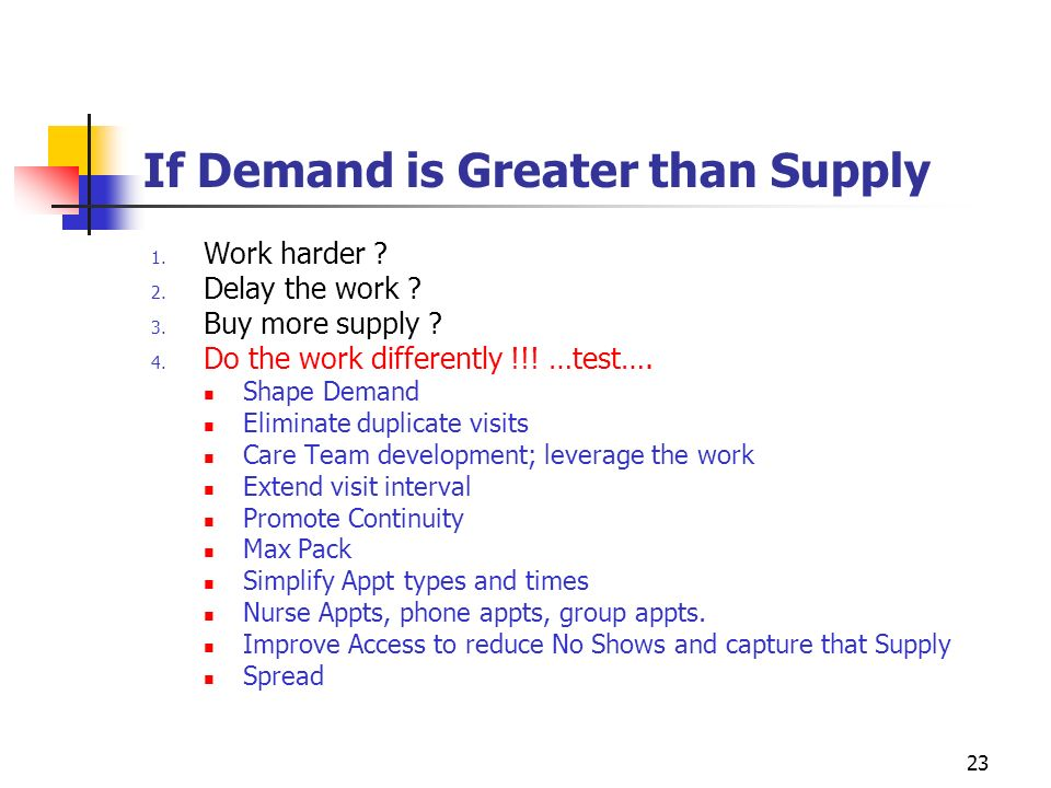 23 If Demand is Greater than Supply 1. Work harder ? 2. Delay the work ? 3. Buy more supply ? 4. Do the work differently !!! …test…. Shape Demand Elim
