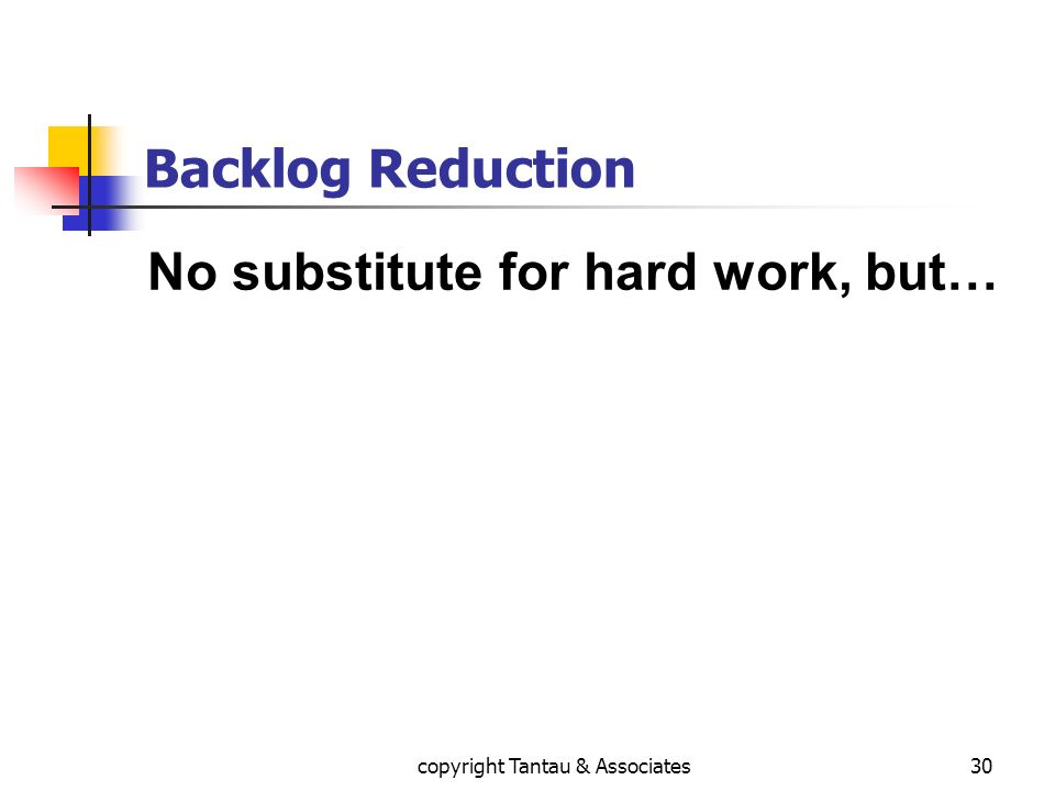 Backlog Reduction No substitute for hard work, but… 30copyright Tantau & Associates