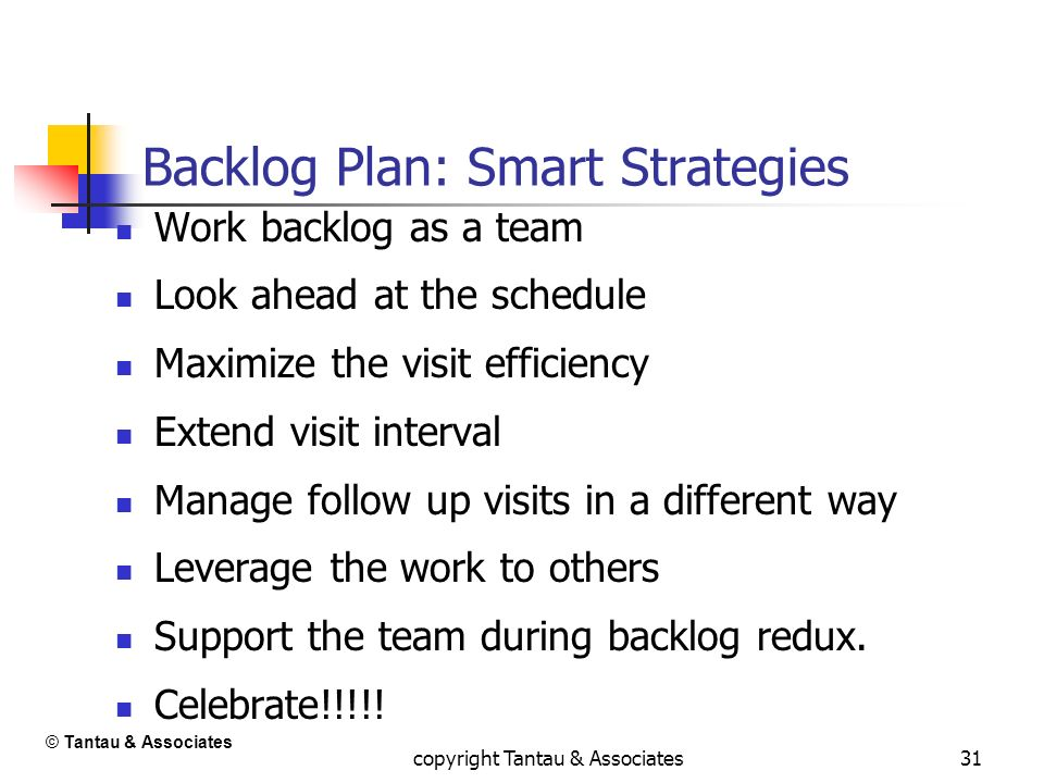 31 Backlog Plan: Smart Strategies Work backlog as a team Look ahead at the schedule Maximize the visit efficiency Extend visit interval Manage follow