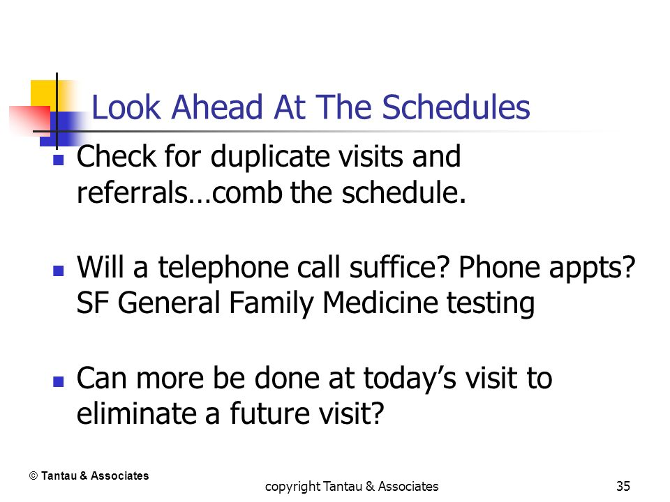 35 Look Ahead At The Schedules Check for duplicate visits and referrals…comb the schedule. Will a telephone call suffice? Phone appts? SF General Fami