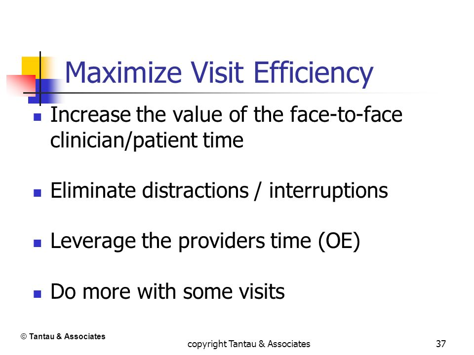 37 Maximize Visit Efficiency Increase the value of the face-to-face clinician/patient time Eliminate distractions / interruptions Leverage the provide