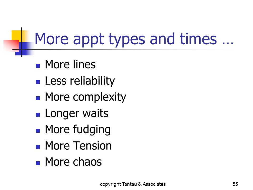 More appt types and times … More lines Less reliability More complexity Longer waits More fudging More Tension More chaos copyright Tantau & Associate