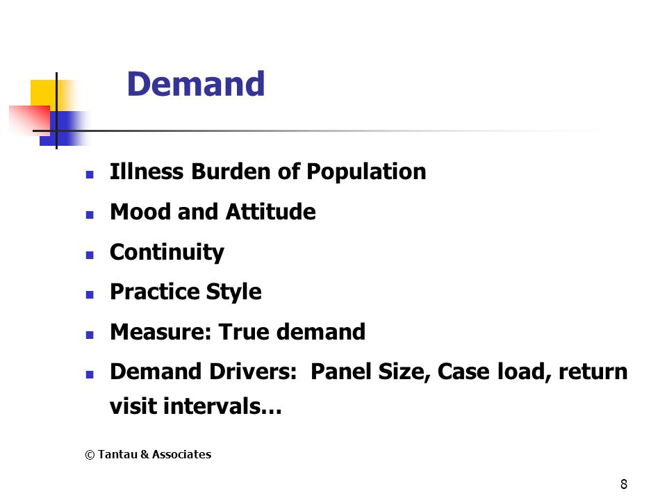 8 Demand Illness Burden of Population Mood and Attitude Continuity Practice Style Measure: True demand Demand Drivers: Panel Size, Case load, return v