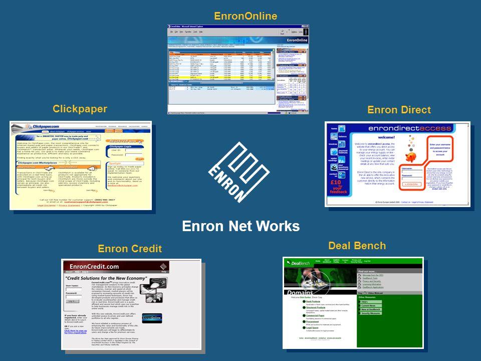Enron Net Works Clickpaper Enron Credit Enron Direct Deal Bench EnronOnline