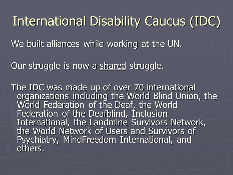 International Disability Caucus (IDC) We built alliances while working at the UN. We built alliances while working at the UN. Our struggle is now a sh