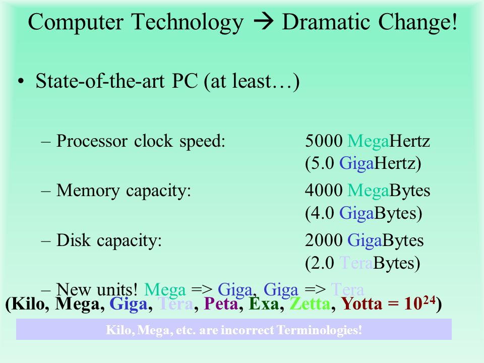 Computer Technology Dramatic Change! State-of-the-art PC (at least…) –Processor clock speed: 5000 MegaHertz (5.0 GigaHertz) –Memory capacity: 4000 Meg