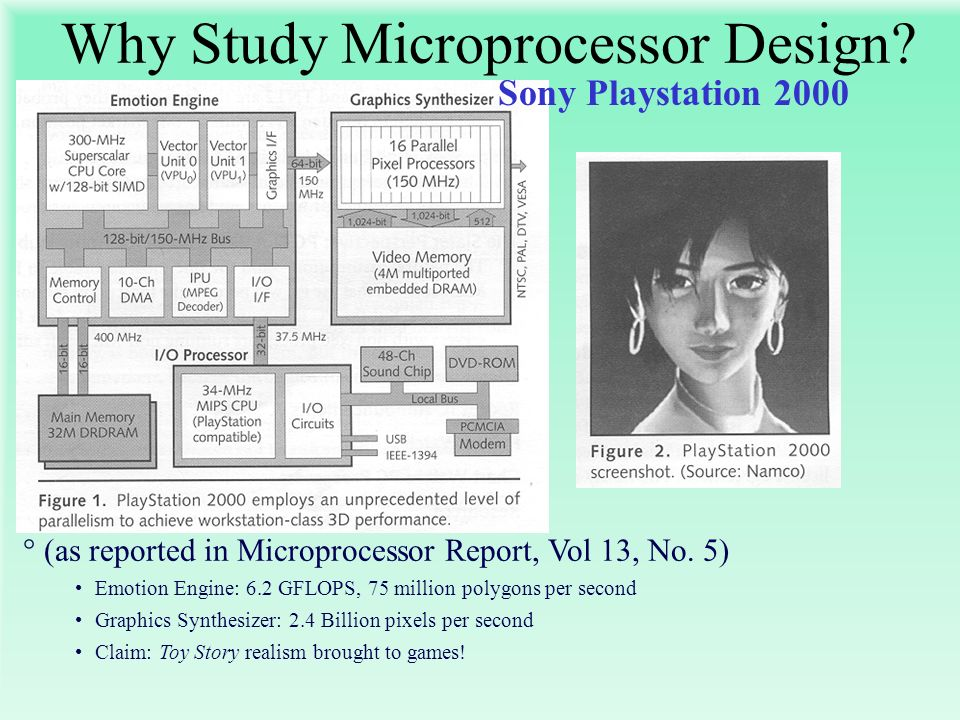 °(as reported in Microprocessor Report, Vol 13, No. 5) Emotion Engine: 6.2 GFLOPS, 75 million polygons per second Graphics Synthesizer: 2.4 Billion pi