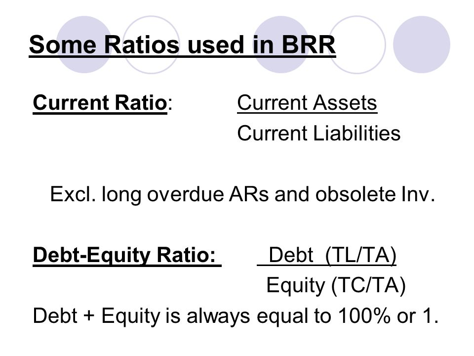 Some Ratios used in BRR Current Ratio: Current Assets Current Liabilities Excl. long overdue ARs and obsolete Inv. Debt-Equity Ratio: Debt (TL/TA) Equ