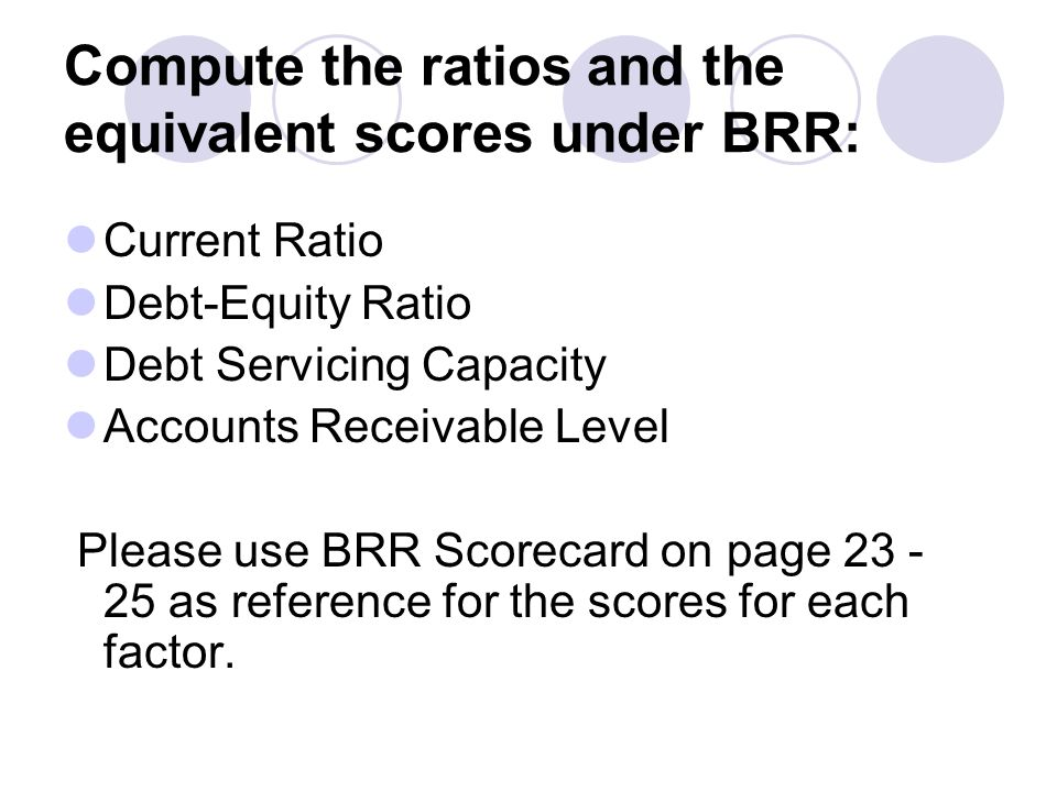 Compute the ratios and the equivalent scores under BRR: Current Ratio Debt-Equity Ratio Debt Servicing Capacity Accounts Receivable Level Please use B