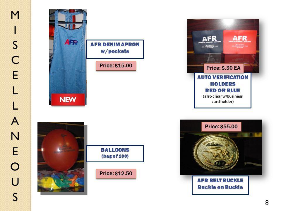 Price: $.30 EA Price: $12.50 Price: $55.00 8 Price: $15.00
