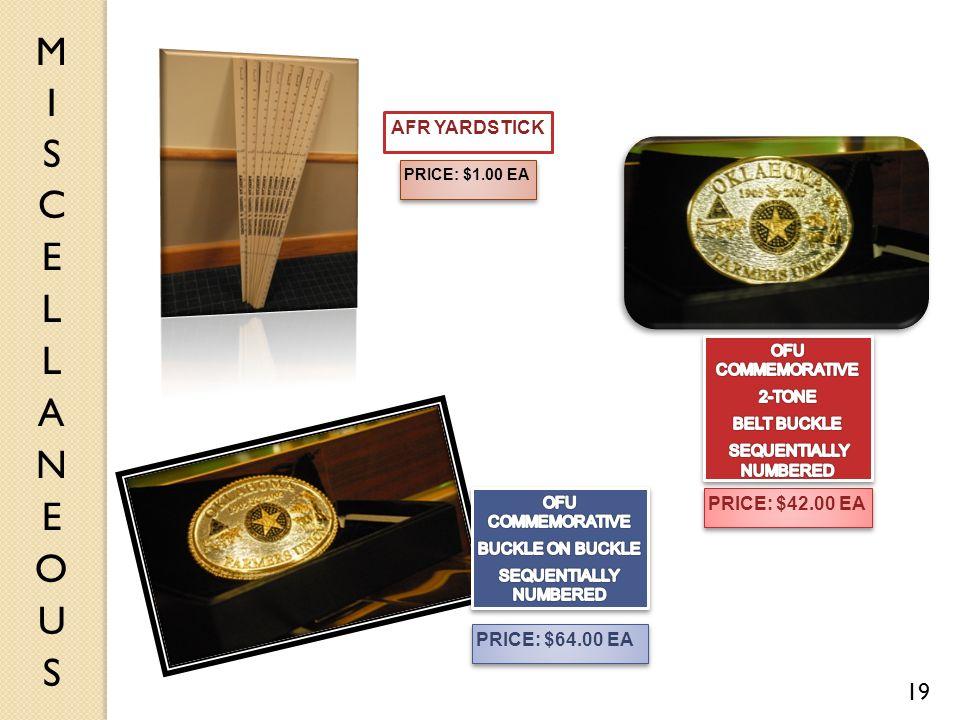 19 PRICE: $1.00 EA PRICE: $64.00 EA PRICE: $42.00 EA AFR YARDSTICK