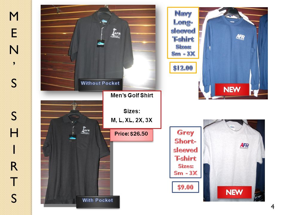 4 Mens Golf Shirt Sizes: M, L, XL, 2X, 3X Price: $26.50