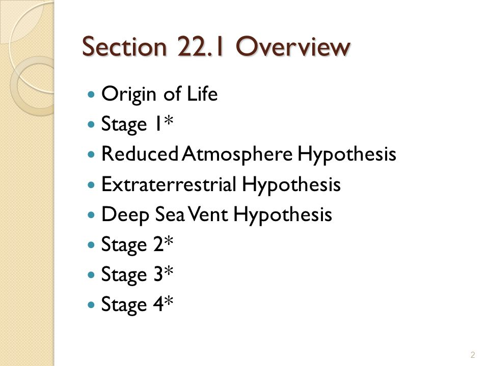 Section 22.1 Overview Origin of Life Stage 1* Reduced Atmosphere Hypothesis Extraterrestrial Hypothesis Deep Sea Vent Hypothesis Stage 2* Stage 3* Sta