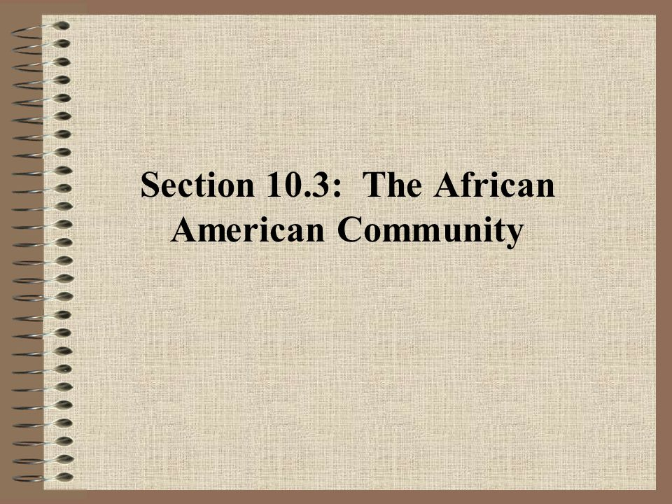 Section 10.3: The African American Community