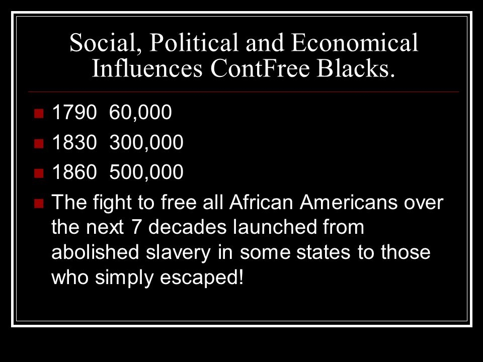 Social, Political and Economical Influences ContFree Blacks.