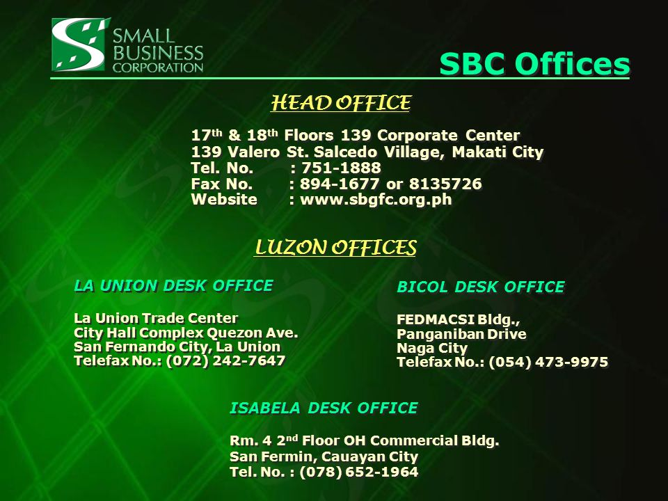 HEAD OFFICE 17 th & 18 th Floors 139 Corporate Center 139 Valero St.
