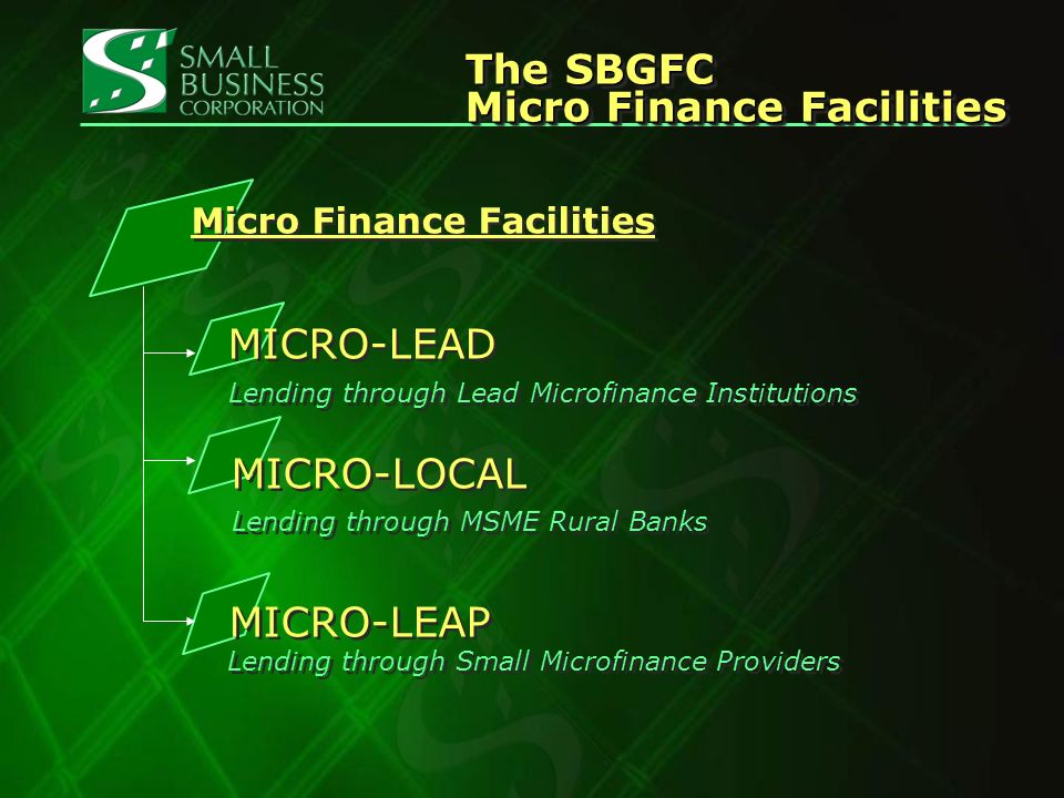 MICRO-LEADMICRO-LEAD Lending thru lead micro finance institutions whose lending portfolio and organizational structure are predominantly or at least 60% micro finance.