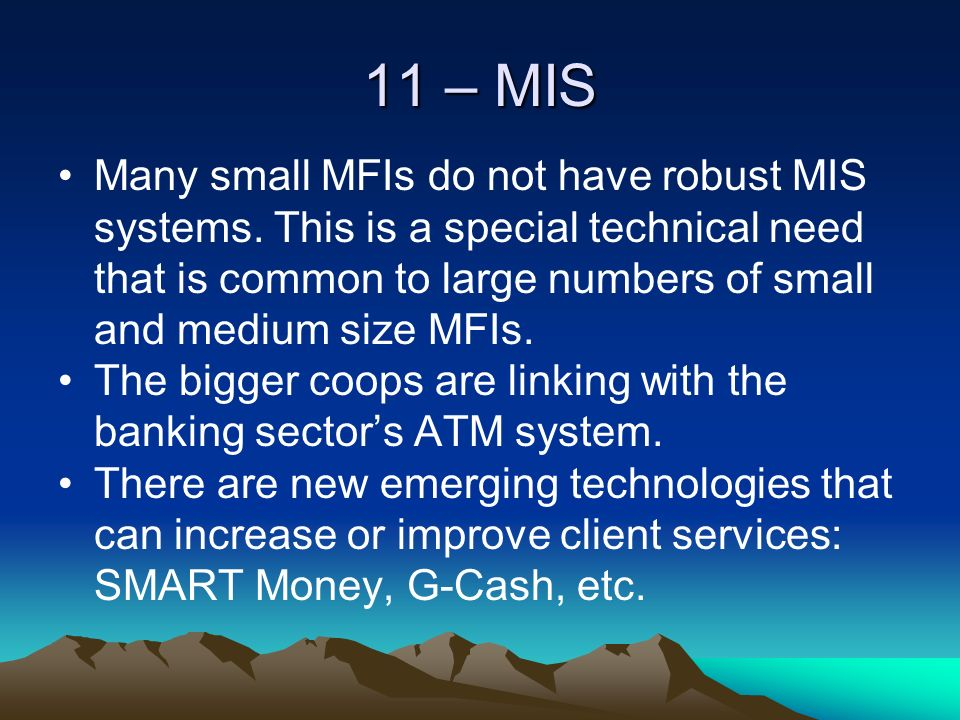 11 – MIS Many small MFIs do not have robust MIS systems.