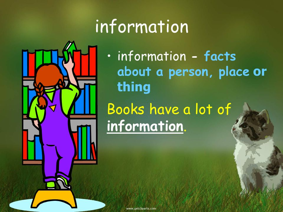 information information - facts about a person, place or thing Books have a lot of information.