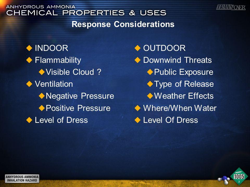 Response Considerations u INDOOR u Flammability u Visible Cloud .