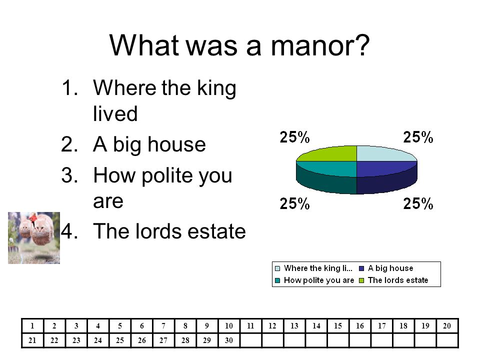 What was a manor? 1.Where the king lived 2.A big house 3.How polite you are 4.The lords estate 1234567891011121314151617181920 21222324252627282930