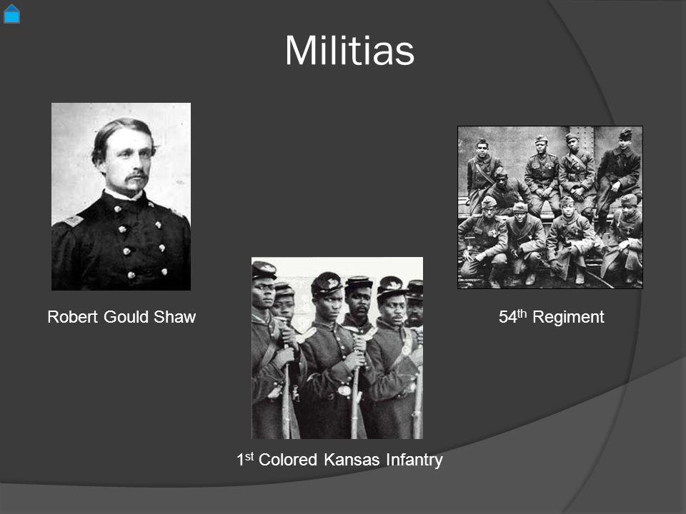 Militias 54 th Regiment Robert Gould Shaw 1 st Colored Kansas Infantry