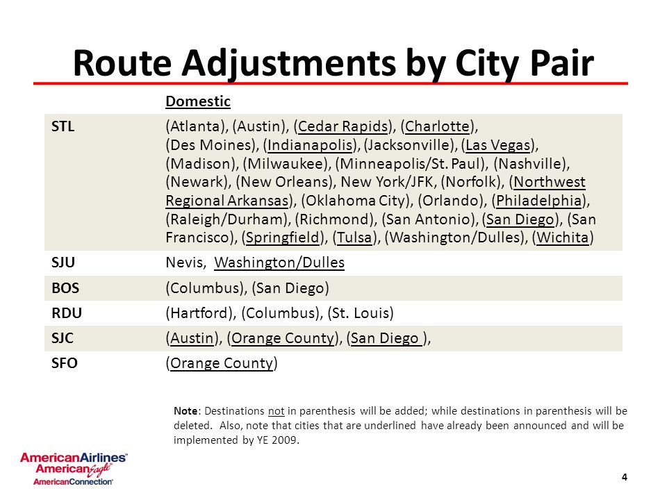 Route Adjustments by City Pair 4 Domestic STL(Atlanta), (Austin), (Cedar Rapids), (Charlotte), (Des Moines), (Indianapolis), (Jacksonville), (Las Vegas), (Madison), (Milwaukee), (Minneapolis/St.