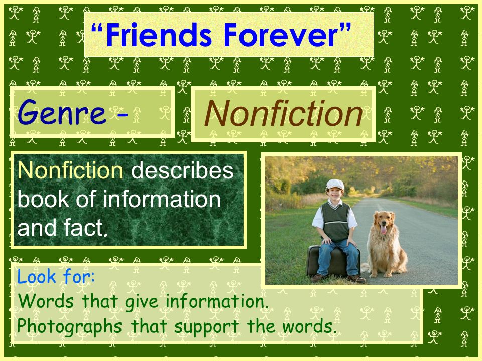 Genre - Nonfiction describes book of information and fact.