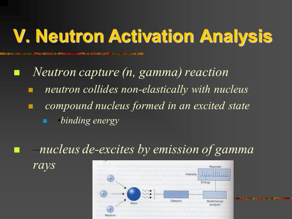 V. Neutron Activation Analysis Neutron capture (n, gamma) reaction neutron collides non-elastically with nucleus compound nucleus formed in an excited