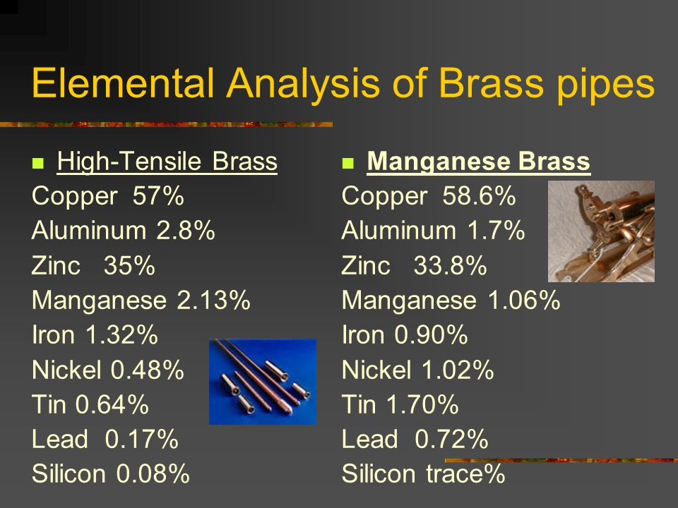 Elemental Analysis of Brass pipes High-Tensile Brass Copper 57% Aluminum 2.8% Zinc 35% Manganese 2.13% Iron 1.32% Nickel 0.48% Tin 0.64% Lead 0.17% Si