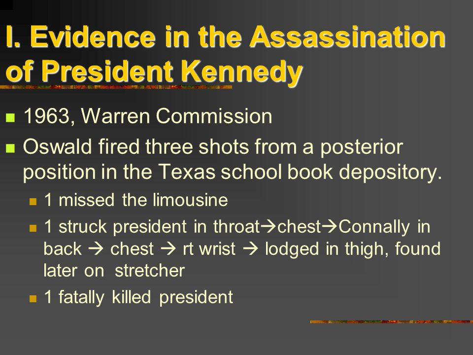 I. Evidence in the Assassination of President Kennedy 1963, Warren Commission Oswald fired three shots from a posterior position in the Texas school b