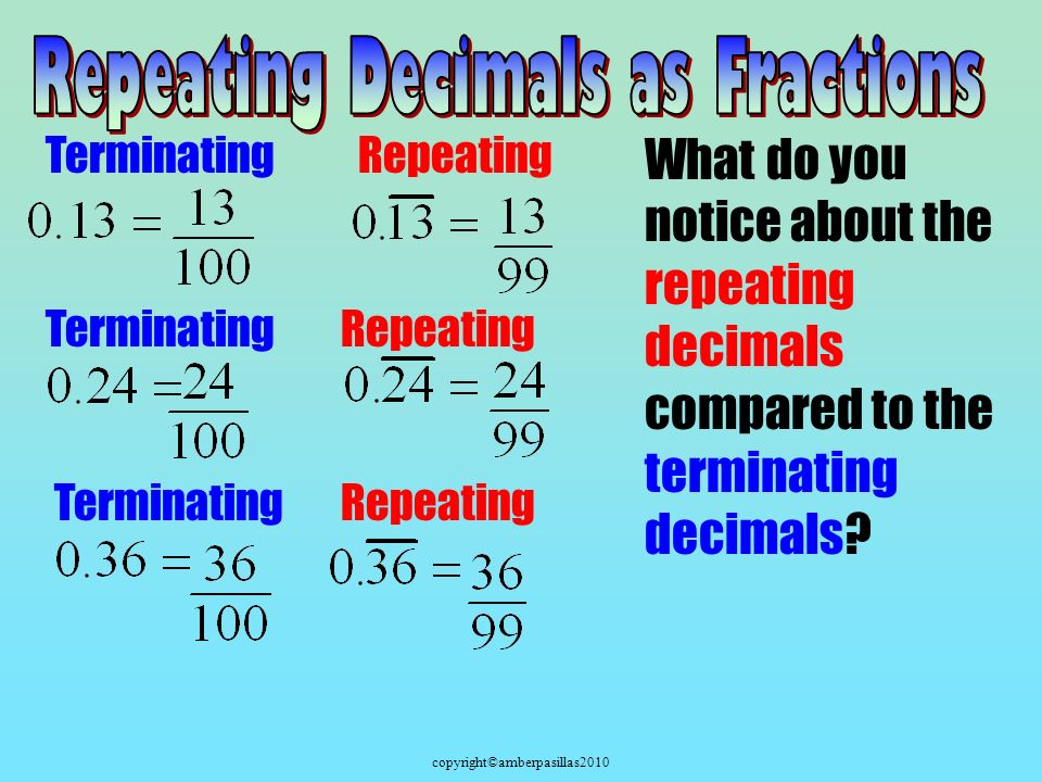copyright©amberpasillas2010 Terminating What do you notice about the repeating decimals compared to the terminating decimals.
