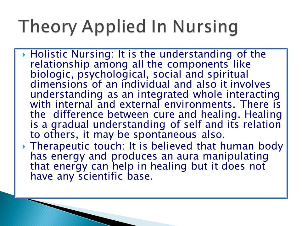 Holistic Nursing: It is the understanding of the relationship among all the components like biologic, psychological, social and spiritual dimensions o