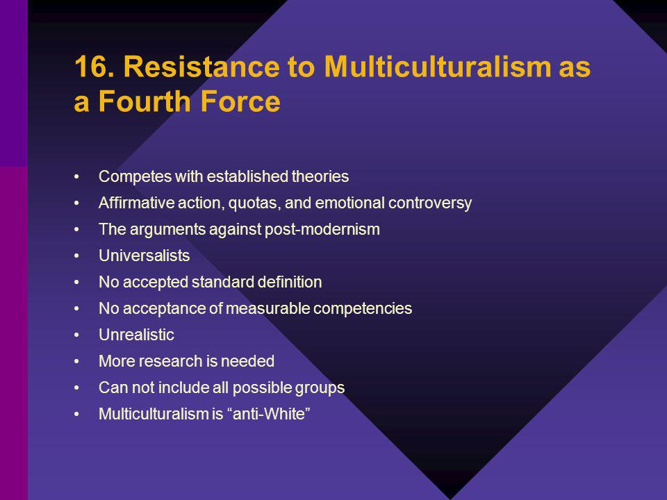 16. Resistance to Multiculturalism as a Fourth Force Competes with established theories Affirmative action, quotas, and emotional controversy The argu