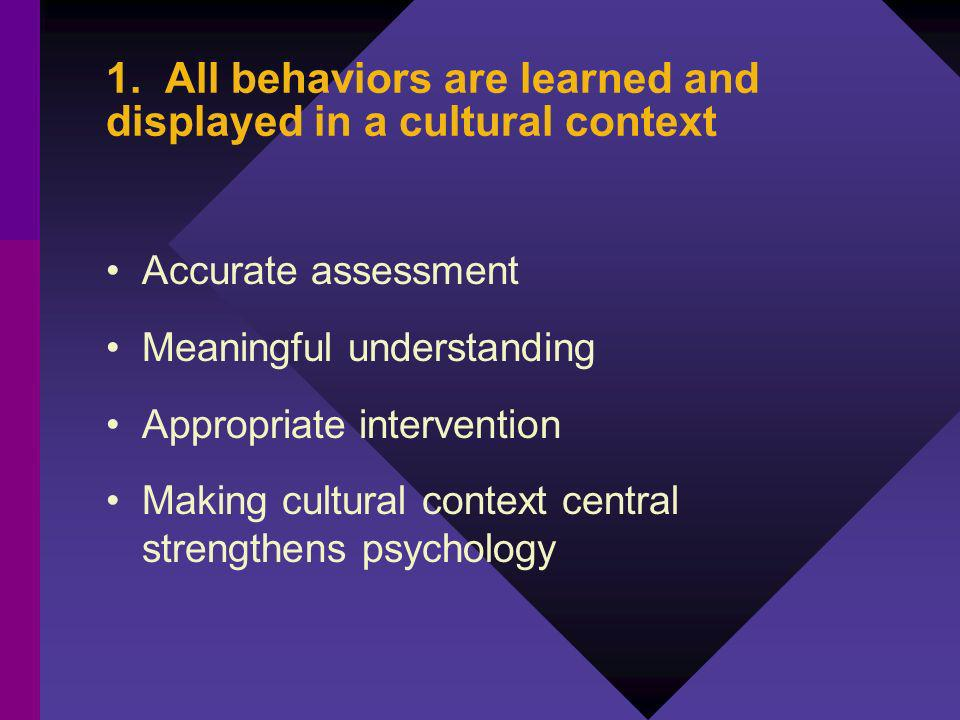 1. All behaviors are learned and displayed in a cultural context Accurate assessment Meaningful understanding Appropriate intervention Making cultural