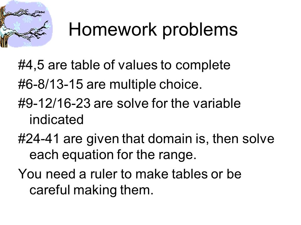 Homework problems #4,5 are table of values to complete #6-8/13-15 are multiple choice.