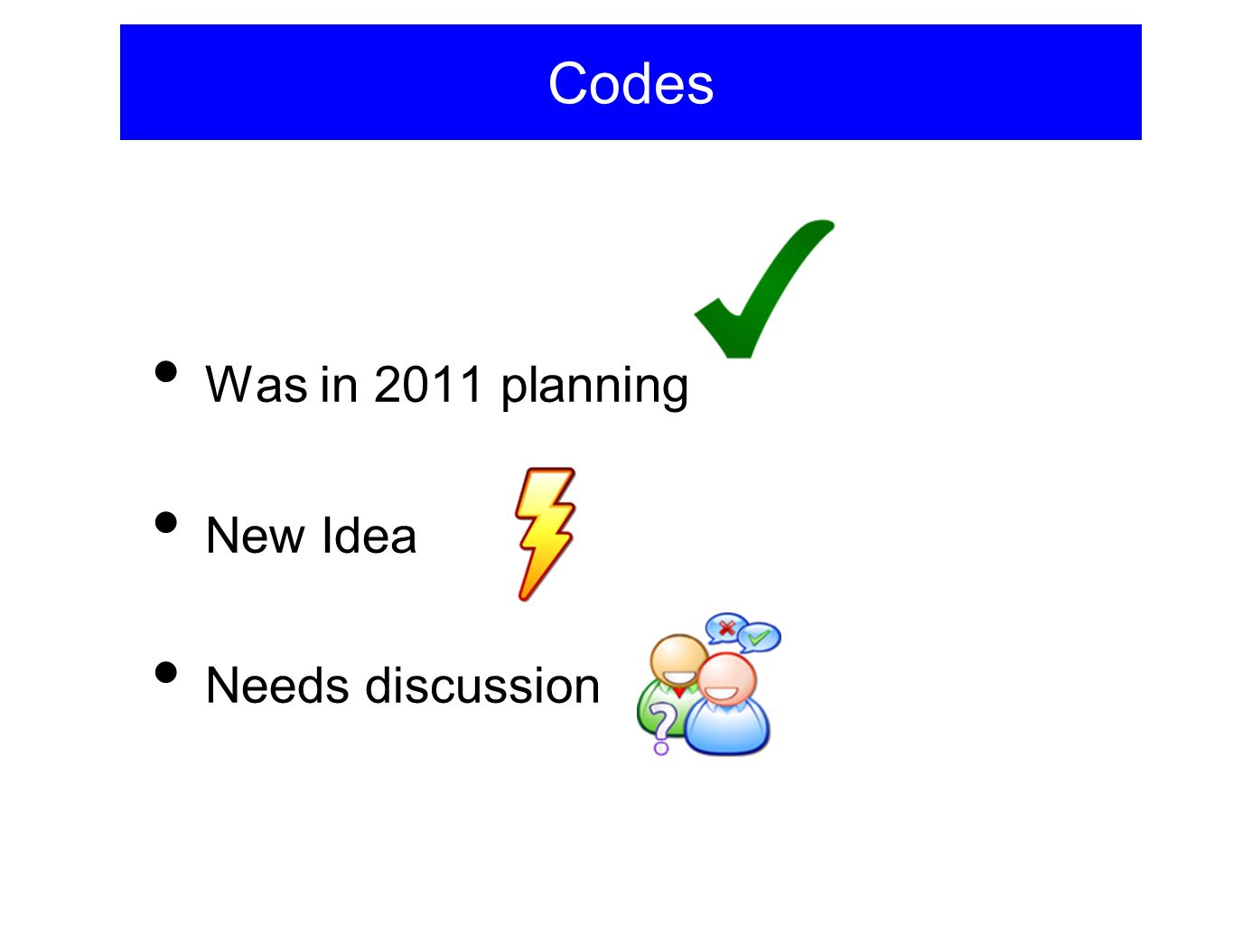Codes Was in 2011 planning New Idea Needs discussion