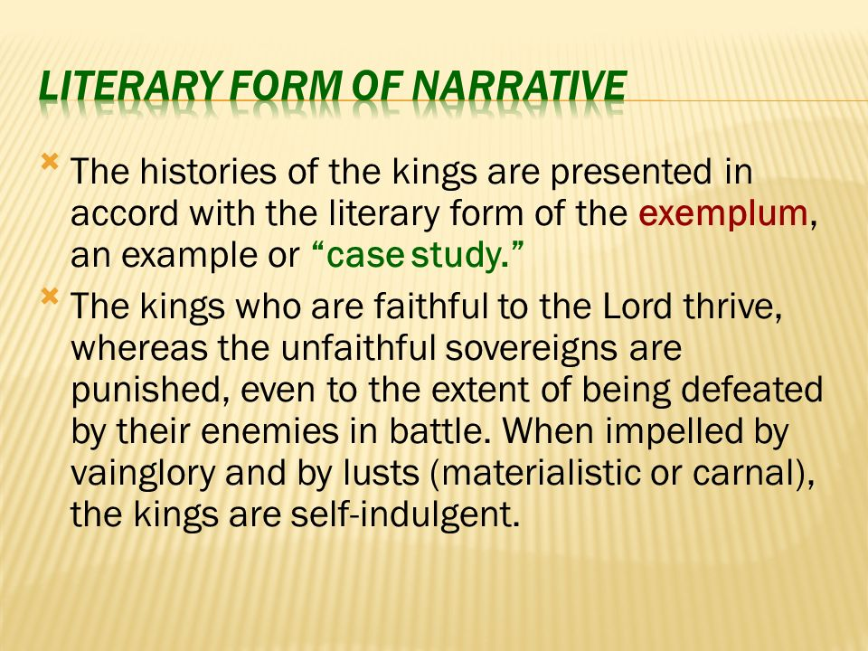 Emphasized are the first monarchies of Saul and David, the histories of various kings, and the grandeur of their temporal realms.