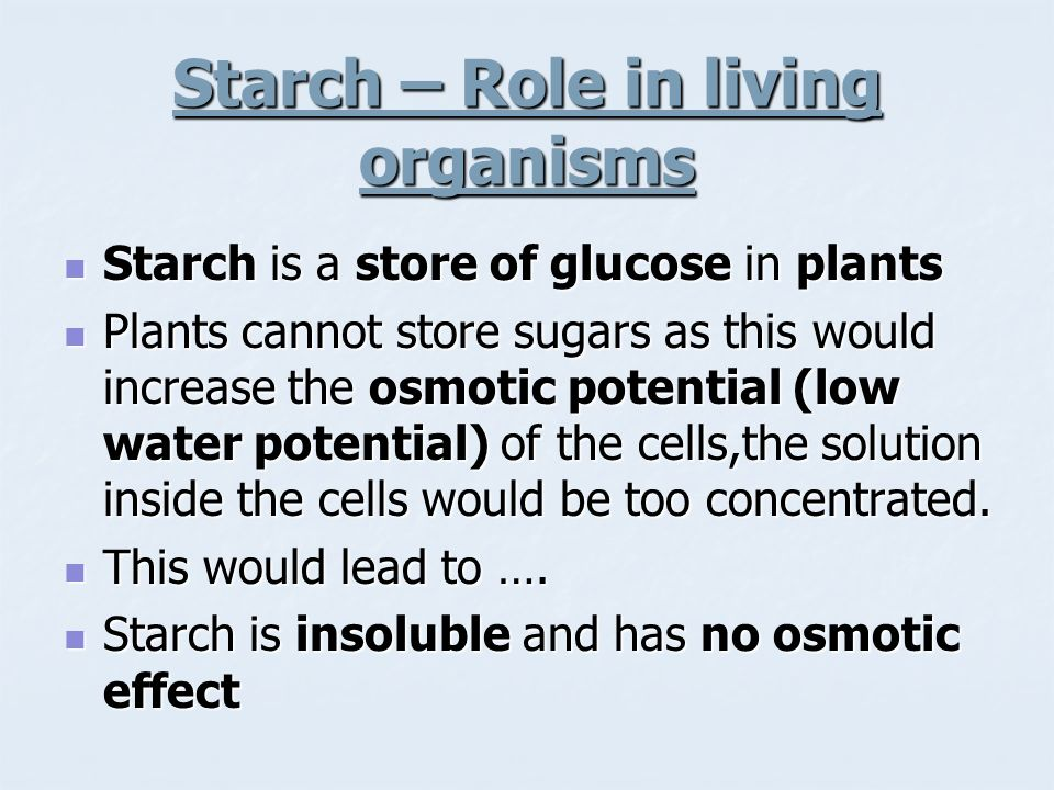 Starch – Role in living organisms Starch is a store of glucose in plants Starch is a store of glucose in plants Plants cannot store sugars as this wou