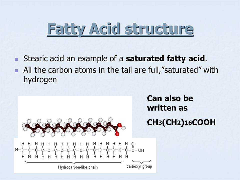 Fatty Acid structure Stearic acid an example of a saturated fatty acid. Stearic acid an example of a saturated fatty acid. All the carbon atoms in the
