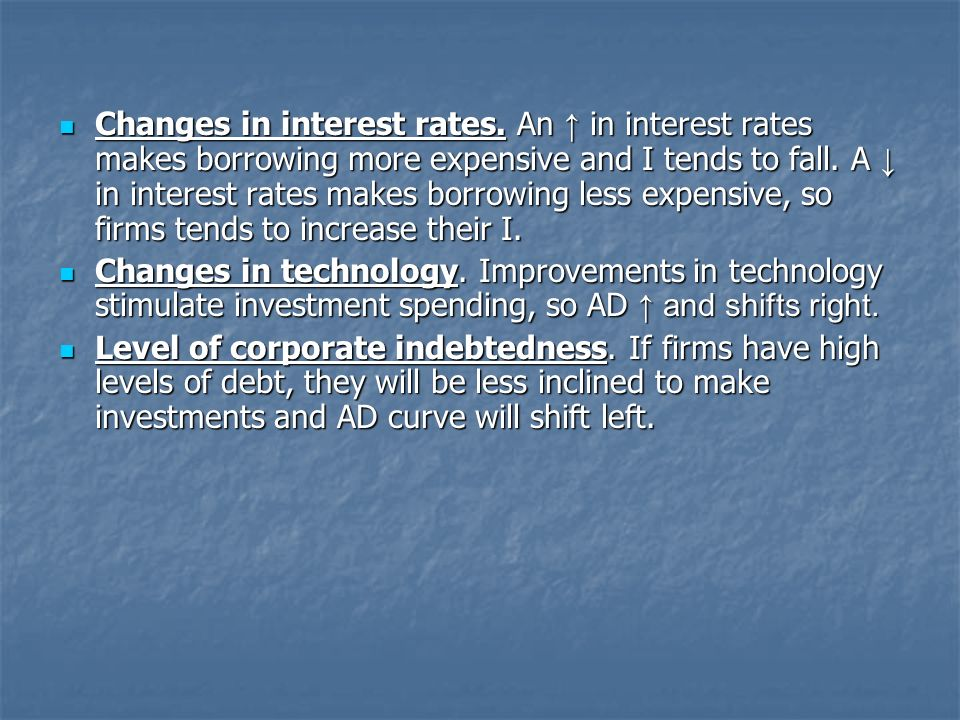 Changes in interest rates. An in interest rates makes borrowing more expensive and I tends to fall.