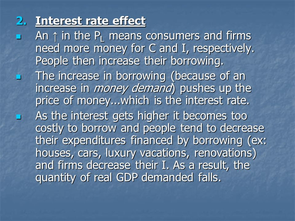 2.Interest rate effect An in the P L means consumers and firms need more money for C and I, respectively.